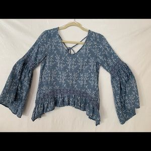 Sage Bell Sleeve Light and Airy Blouse Small